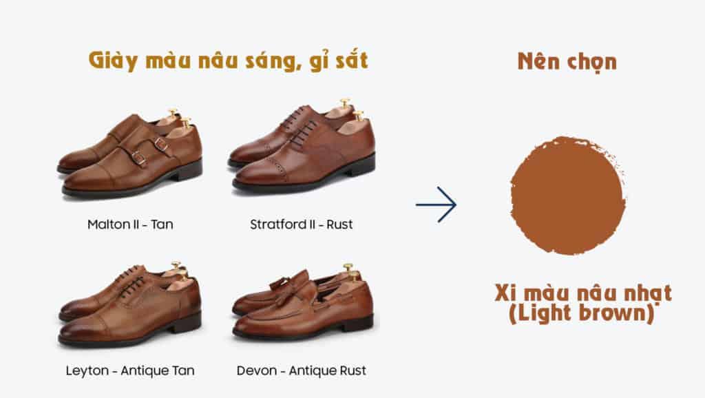 Loại màu giày đánh xi màu nâu nhạt