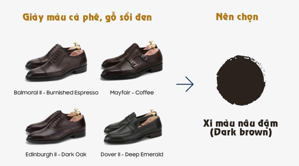 màu giày đánh xi màu nâu đậm